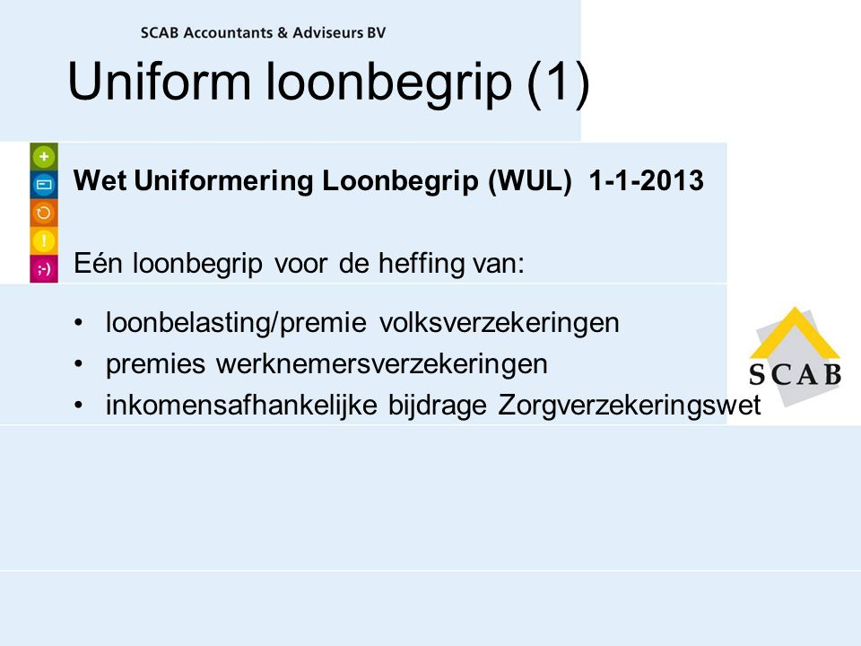Uniform loonbegrip (1) Wet Uniformering Loonbegrip (WUL) 1-1-2013