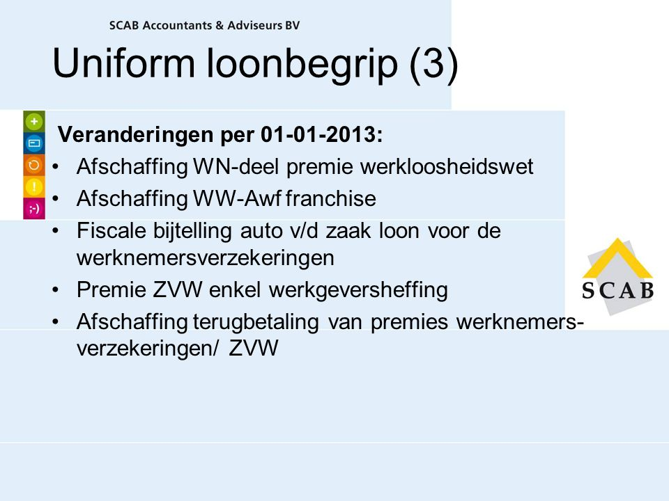 Uniform loonbegrip (3) Veranderingen per 01-01-2013: