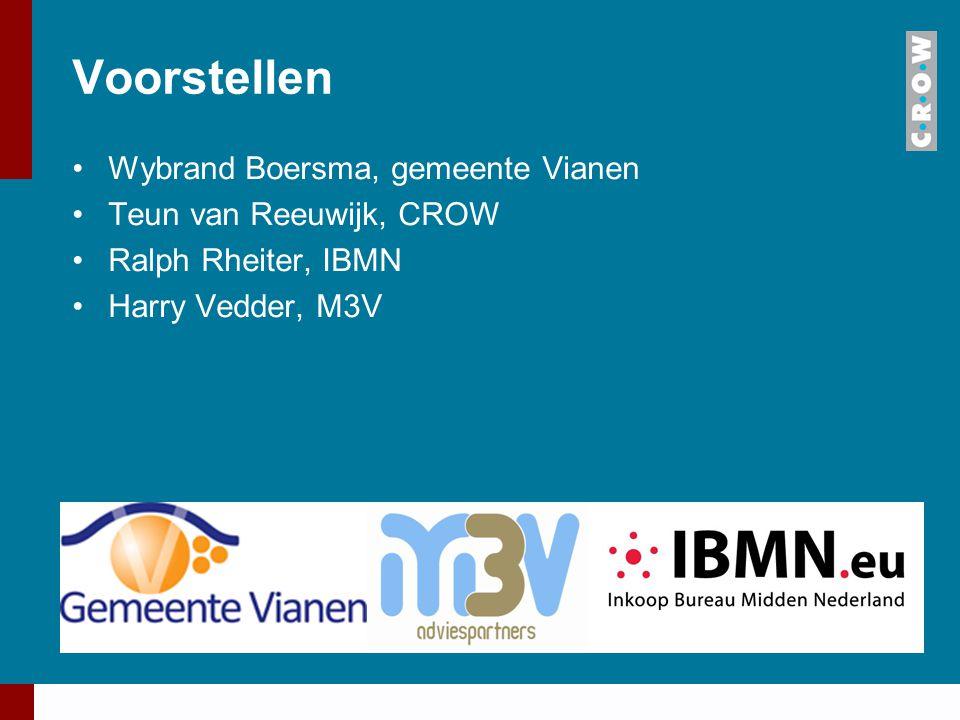 Voorstellen Wybrand Boersma, gemeente Vianen Teun van Reeuwijk, CROW
