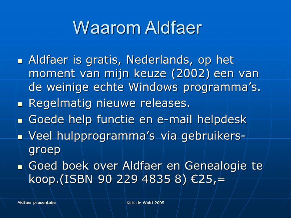 Waarom Aldfaer Aldfaer is gratis, Nederlands, op het moment van mijn keuze (2002) een van de weinige echte Windows programma's.