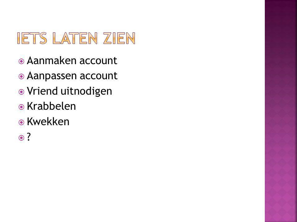 Iets laten zien Aanmaken account Aanpassen account Vriend uitnodigen