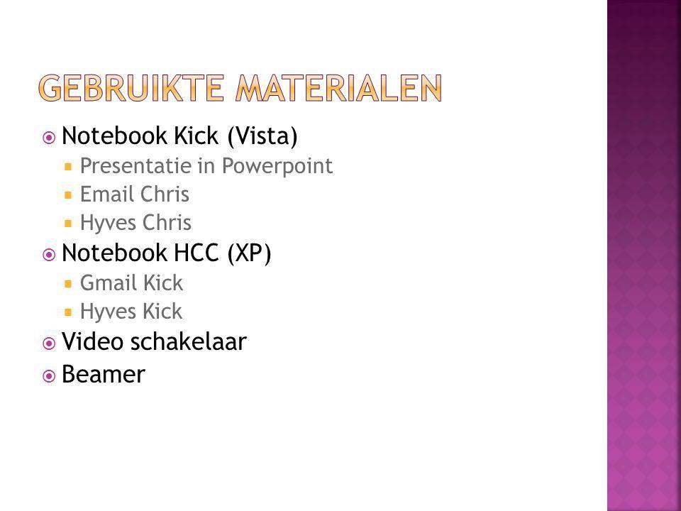 Gebruikte materialen Notebook Kick (Vista) Notebook HCC (XP)