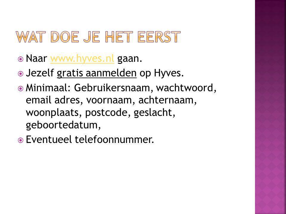 Wat doe je het eerst Naar www.hyves.nl gaan.