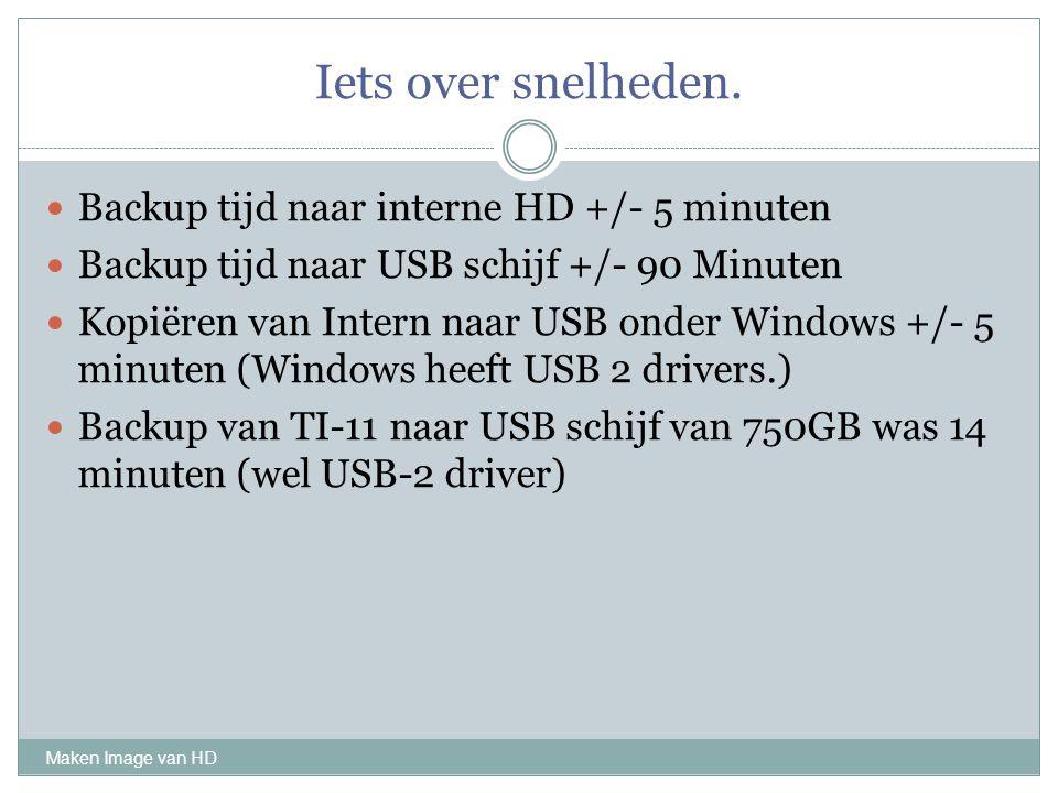Iets over snelheden. Backup tijd naar interne HD +/- 5 minuten