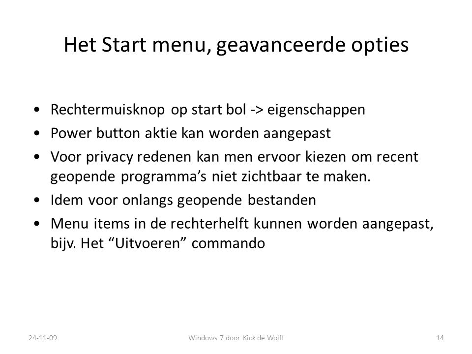 Het Start menu, geavanceerde opties