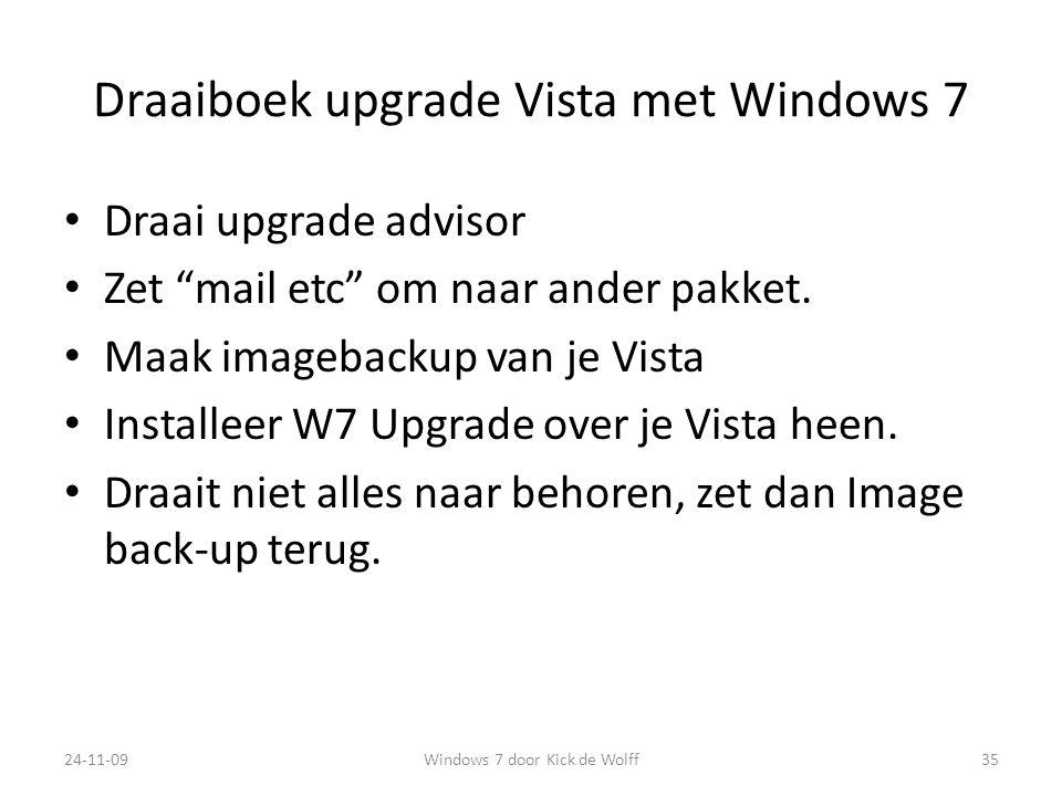 Draaiboek upgrade Vista met Windows 7