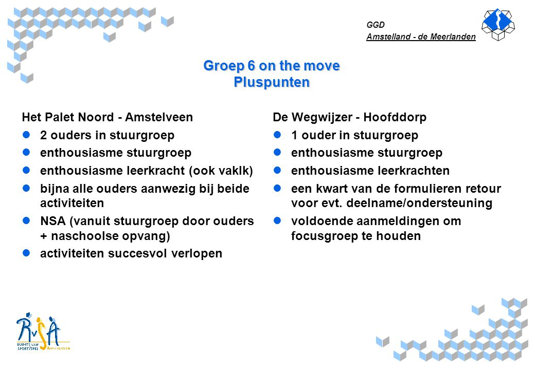 Groep 6 on the move Pluspunten