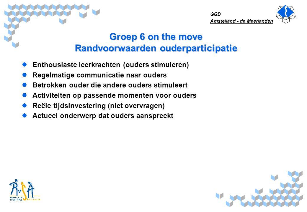 Groep 6 on the move Randvoorwaarden ouderparticipatie