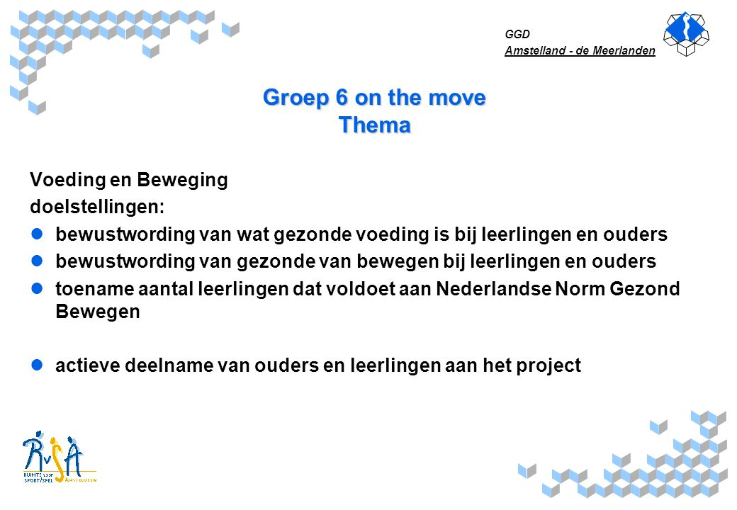 Groep 6 on the move Thema Voeding en Beweging doelstellingen: