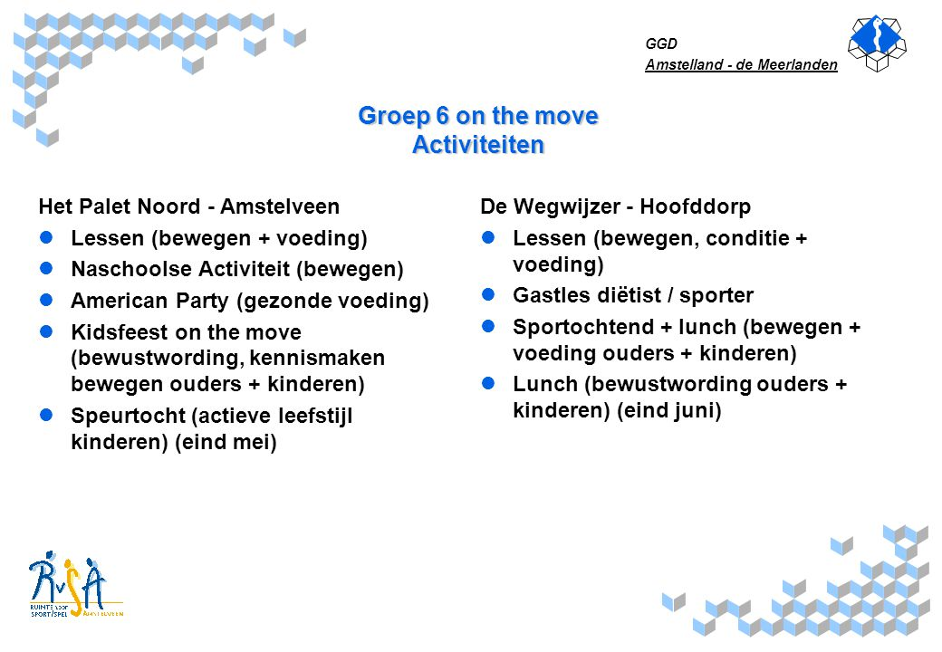 Groep 6 on the move Activiteiten