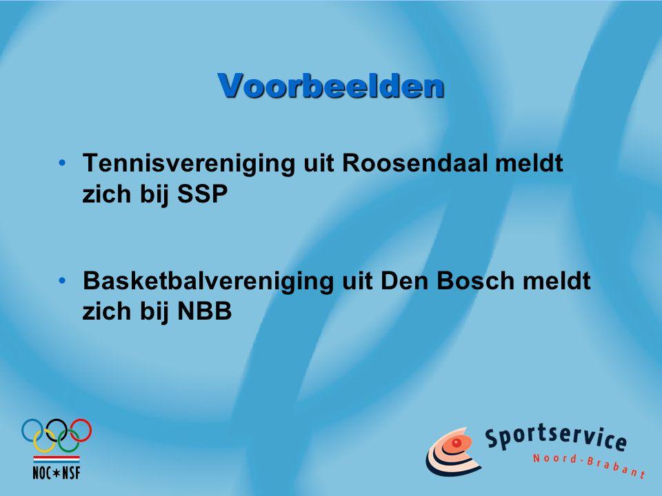 Voorbeelden Tennisvereniging uit Roosendaal meldt zich bij SSP