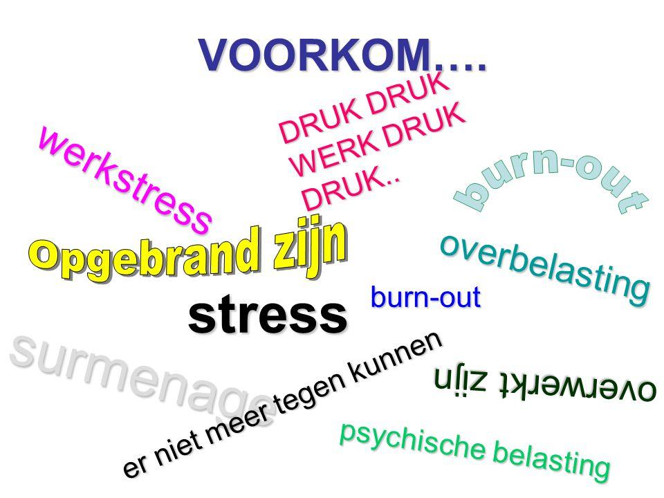 stress surmenage VOORKOM…. werkstress overbelasting overwerkt zijn