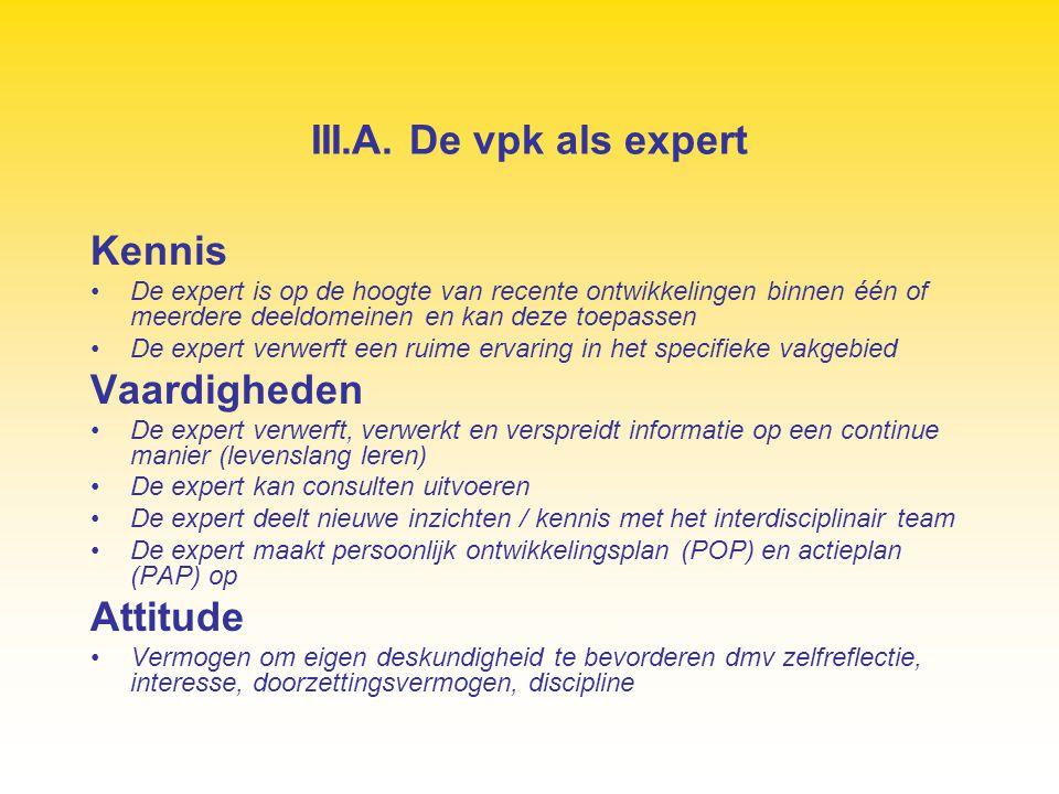 III.A. De vpk als expert Kennis Vaardigheden Attitude