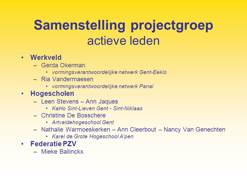 Samenstelling projectgroep actieve leden