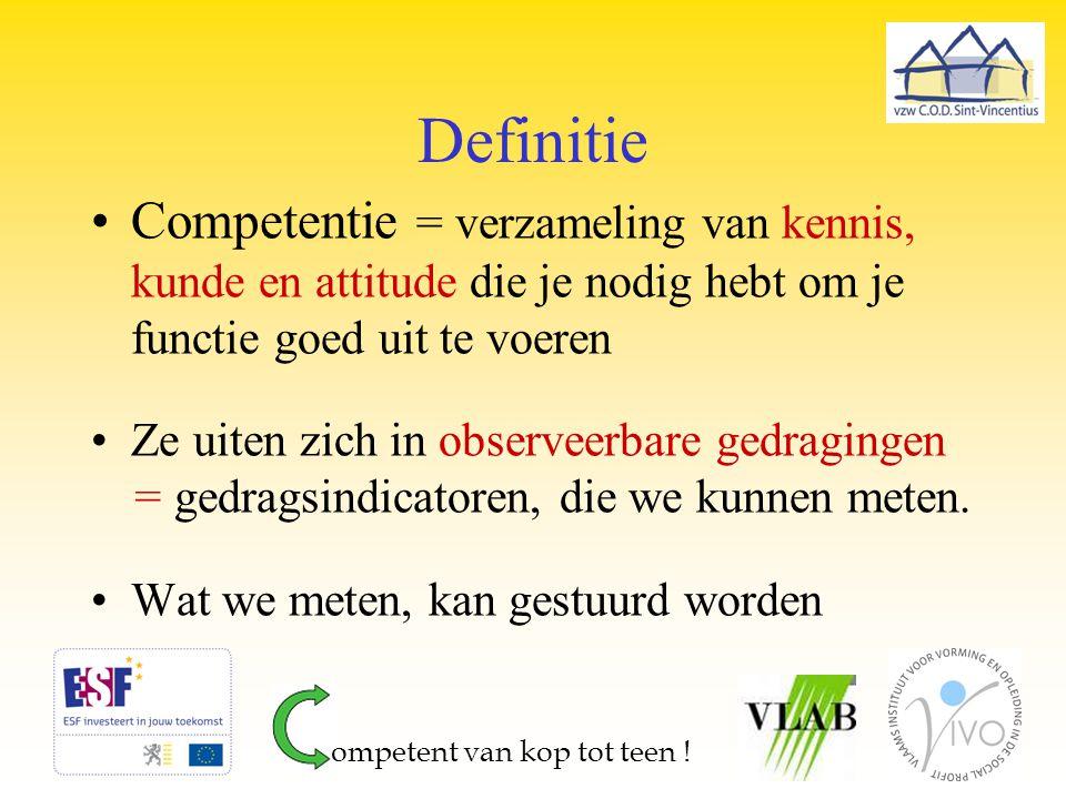 Definitie Competentie = verzameling van kennis, kunde en attitude die je nodig hebt om je functie goed uit te voeren.