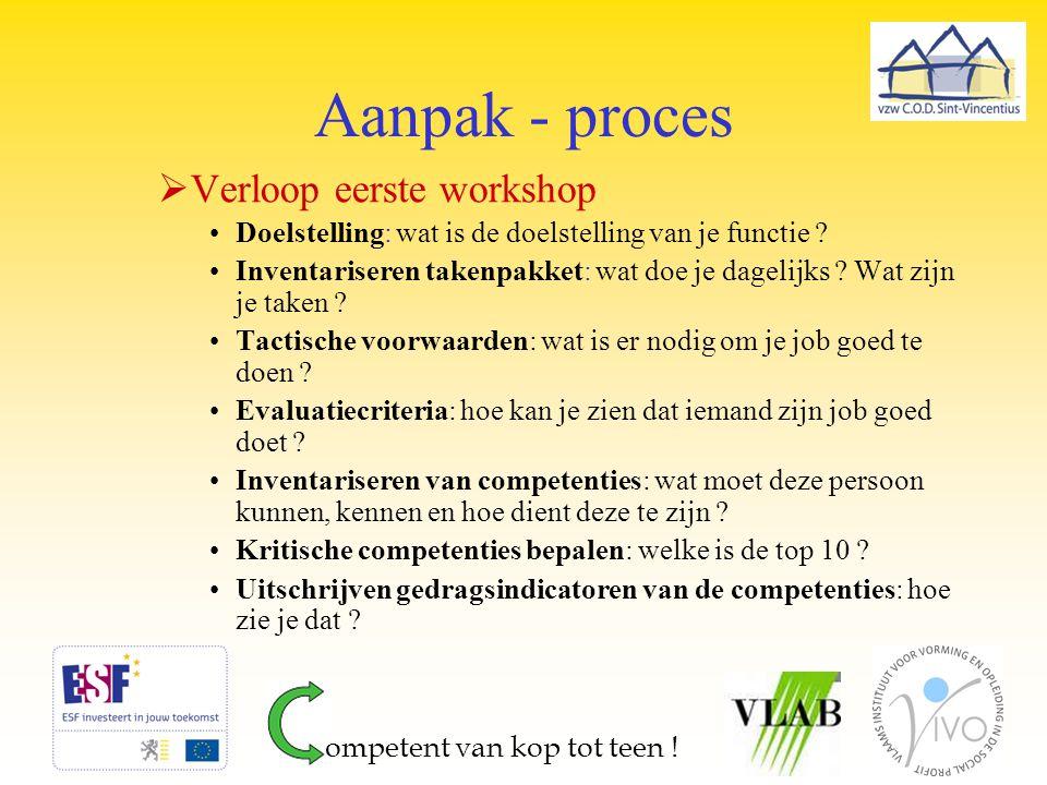 Aanpak - proces Verloop eerste workshop