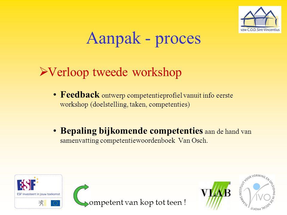 Aanpak - proces Verloop tweede workshop