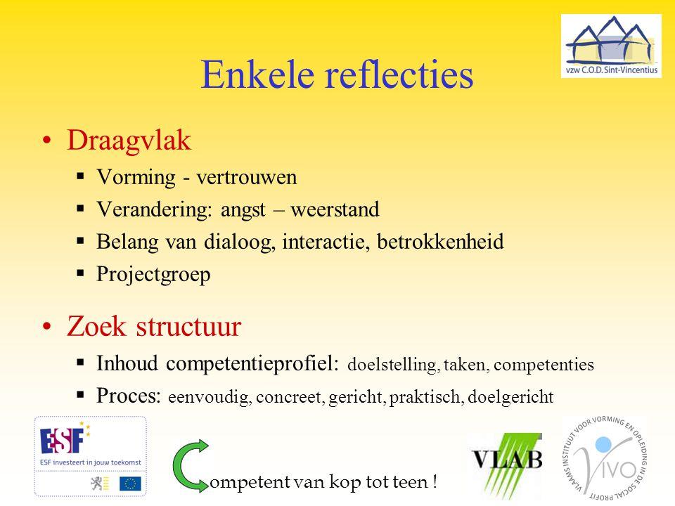 Enkele reflecties Draagvlak Zoek structuur Vorming - vertrouwen