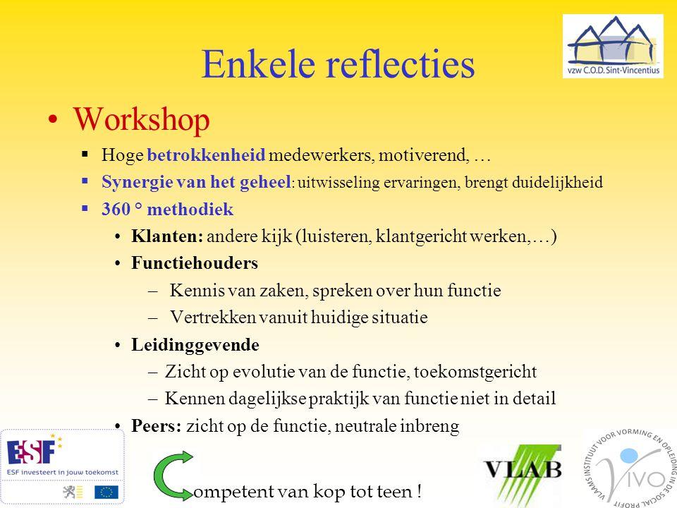 Enkele reflecties Workshop