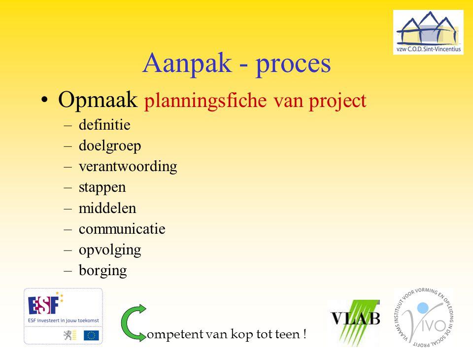 Aanpak - proces Opmaak planningsfiche van project definitie doelgroep