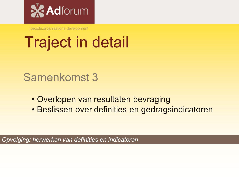Traject in detail Samenkomst 3 Overlopen van resultaten bevraging