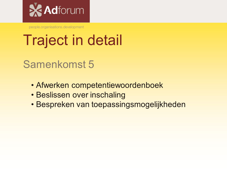 Traject in detail Samenkomst 5 Afwerken competentiewoordenboek