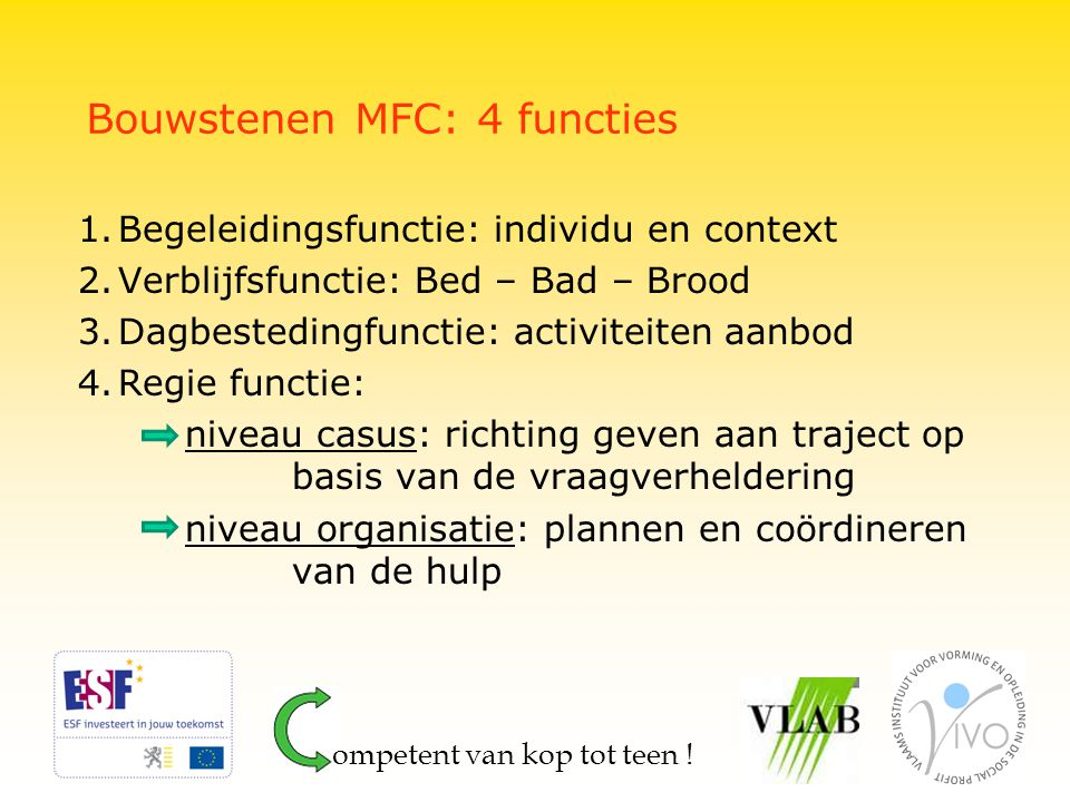 Bouwstenen MFC: 4 functies