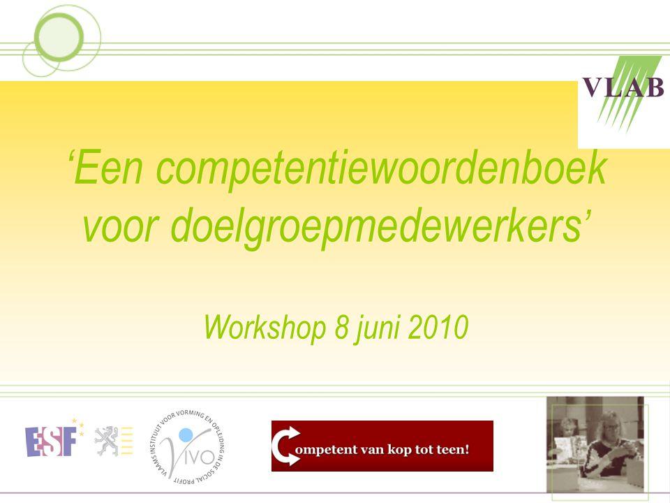 'Een competentiewoordenboek voor doelgroepmedewerkers' Workshop 8 juni 2010