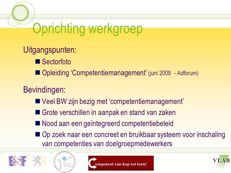 Oprichting werkgroep Uitgangspunten: Bevindingen: Sectorfoto