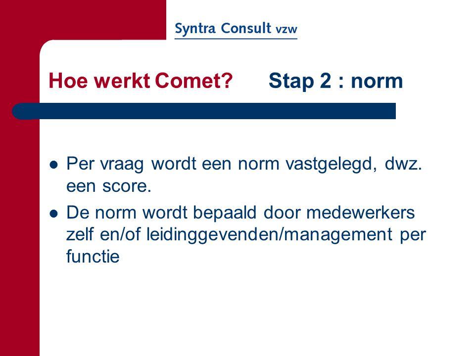 Hoe werkt Comet Stap 2 : norm
