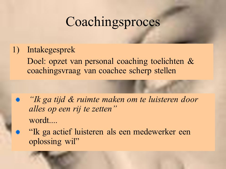 Coachingsproces Intakegesprek