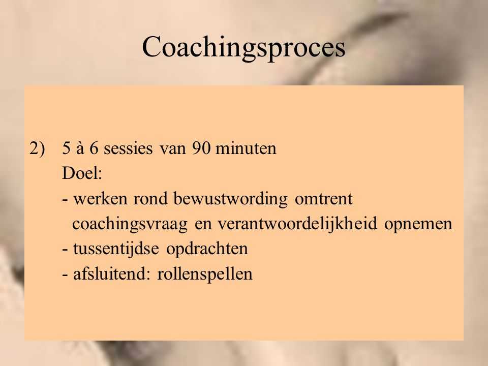 Coachingsproces 5 à 6 sessies van 90 minuten Doel: