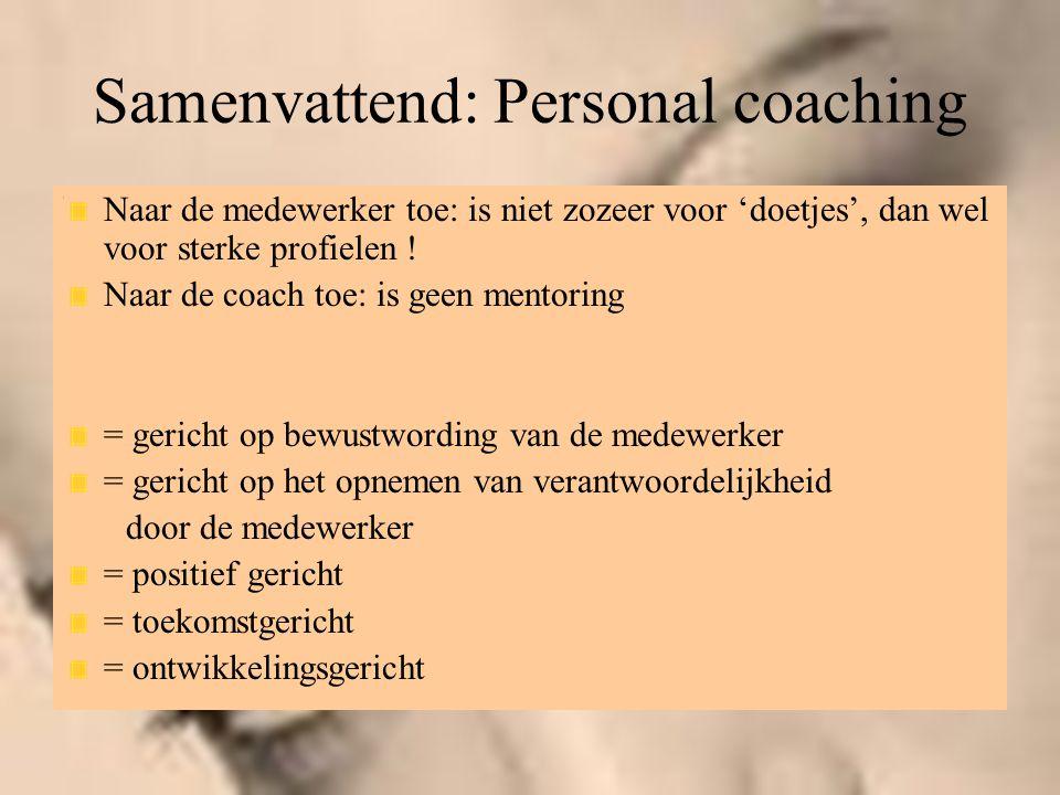 Samenvattend: Personal coaching