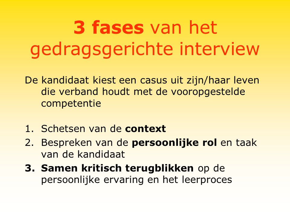 3 fases van het gedragsgerichte interview