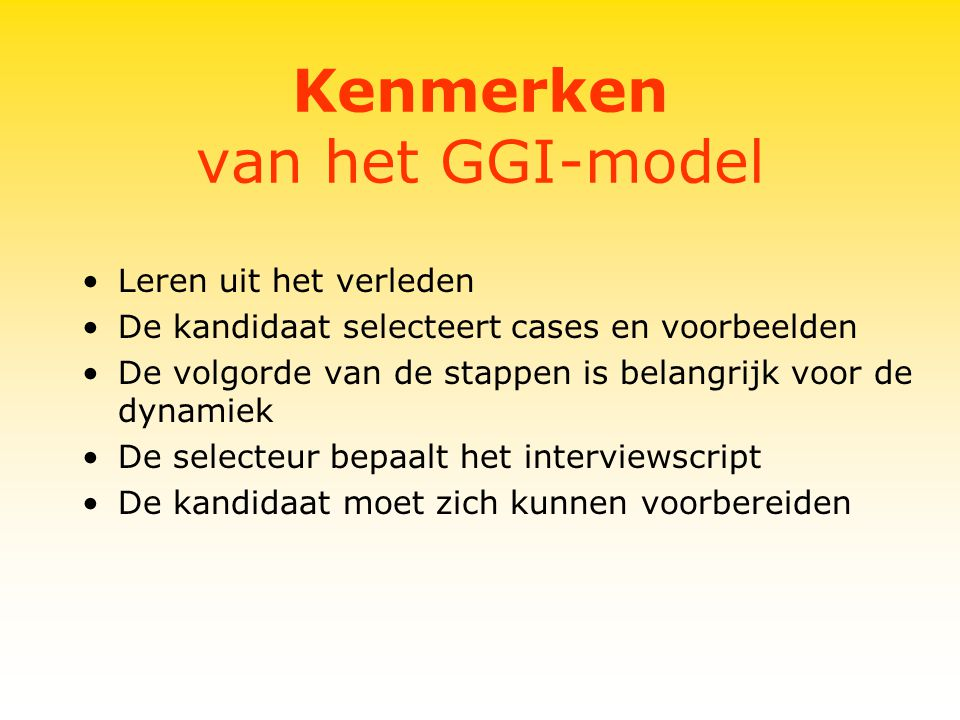 Kenmerken van het GGI-model