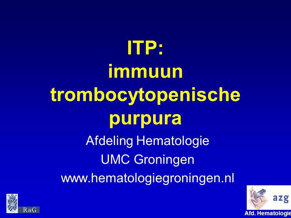 ITP: immuun trombocytopenische purpura