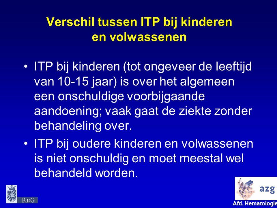 Verschil tussen ITP bij kinderen en volwassenen