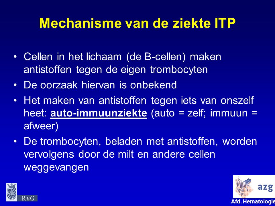 Mechanisme van de ziekte ITP