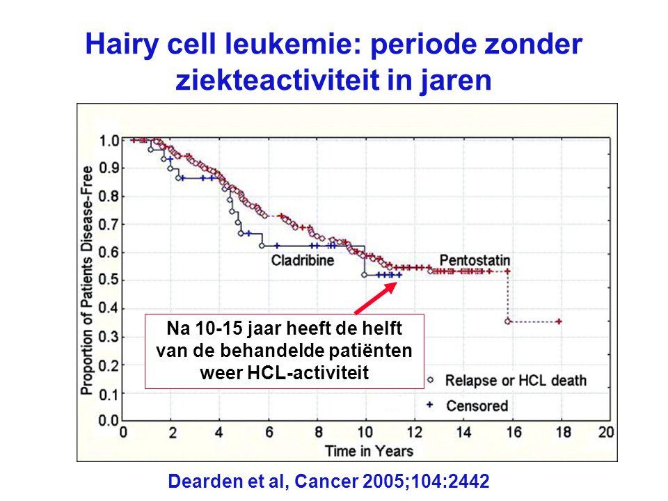 Hairy cell leukemie: periode zonder ziekteactiviteit in jaren