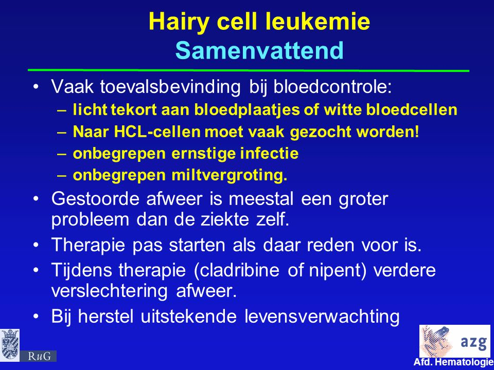 Hairy cell leukemie Samenvattend