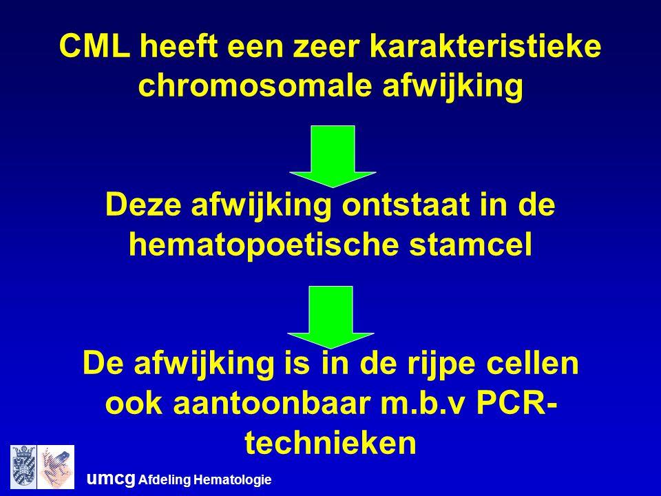 CML heeft een zeer karakteristieke chromosomale afwijking Deze afwijking ontstaat in de hematopoetische stamcel De afwijking is in de rijpe cellen ook aantoonbaar m.b.v PCR- technieken
