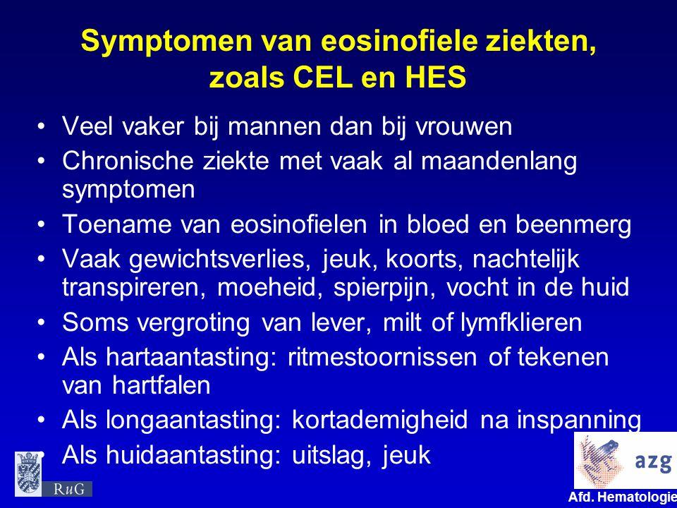 Symptomen van eosinofiele ziekten, zoals CEL en HES