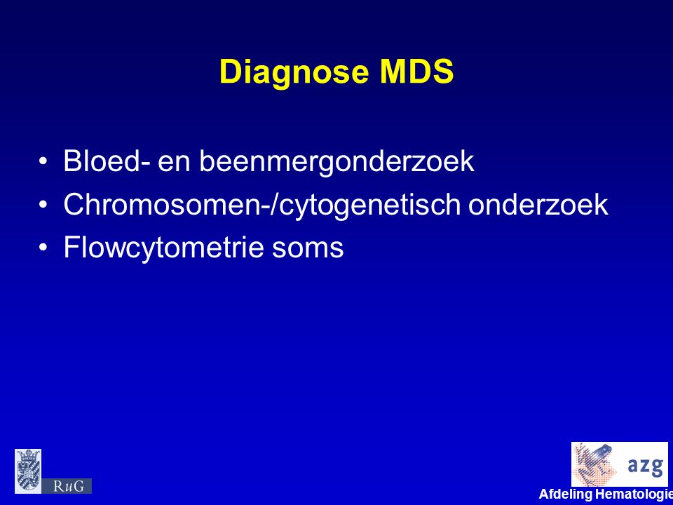 Diagnose MDS Bloed- en beenmergonderzoek