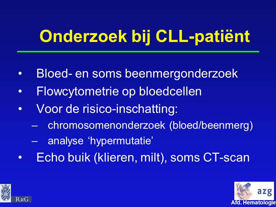 Onderzoek bij CLL-patiënt