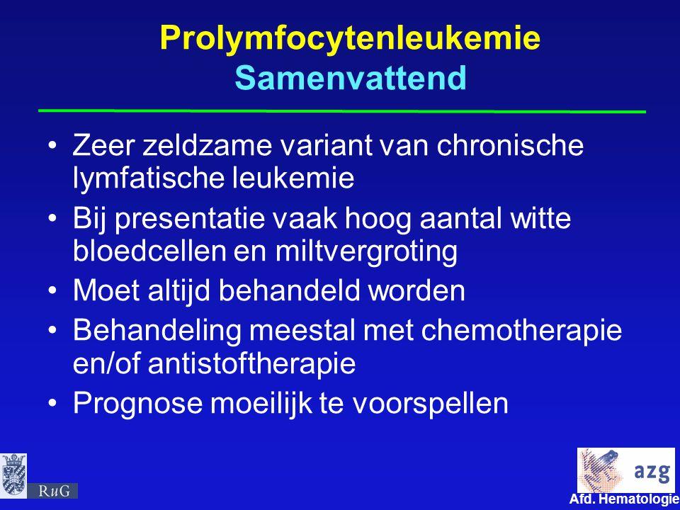 Prolymfocytenleukemie Samenvattend