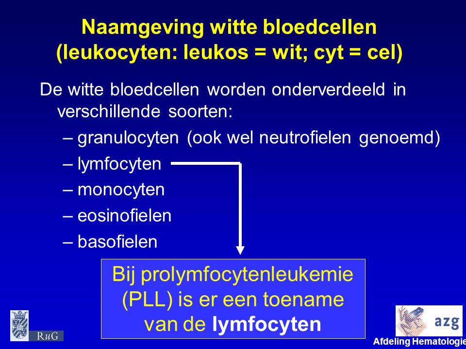 Naamgeving witte bloedcellen (leukocyten: leukos = wit; cyt = cel)