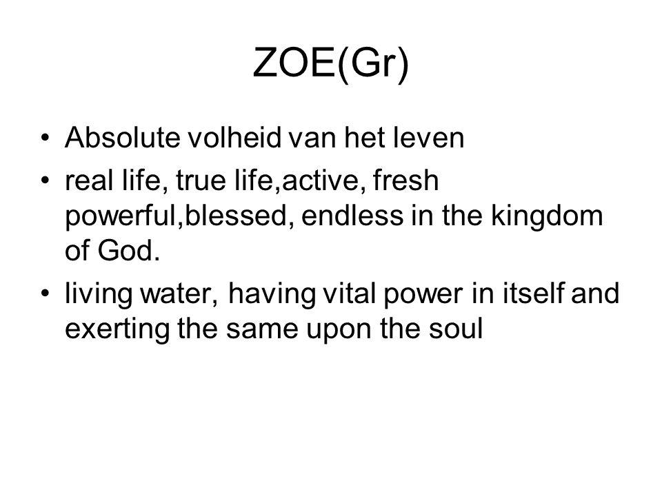 ZOE(Gr) Absolute volheid van het leven