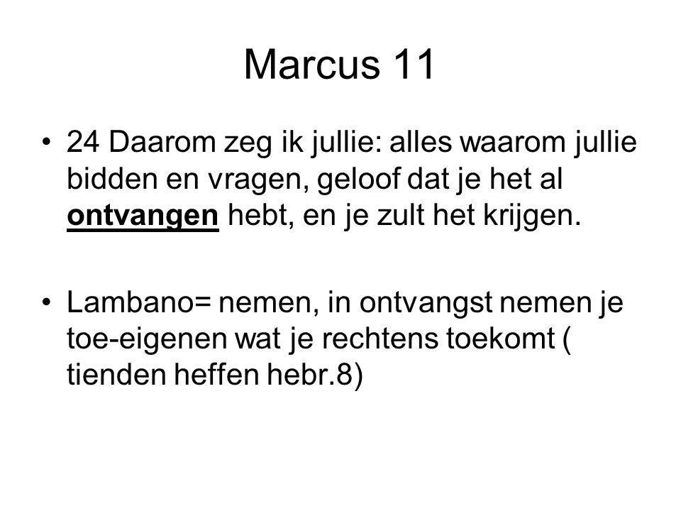 Marcus 11 24 Daarom zeg ik jullie: alles waarom jullie bidden en vragen, geloof dat je het al ontvangen hebt, en je zult het krijgen.