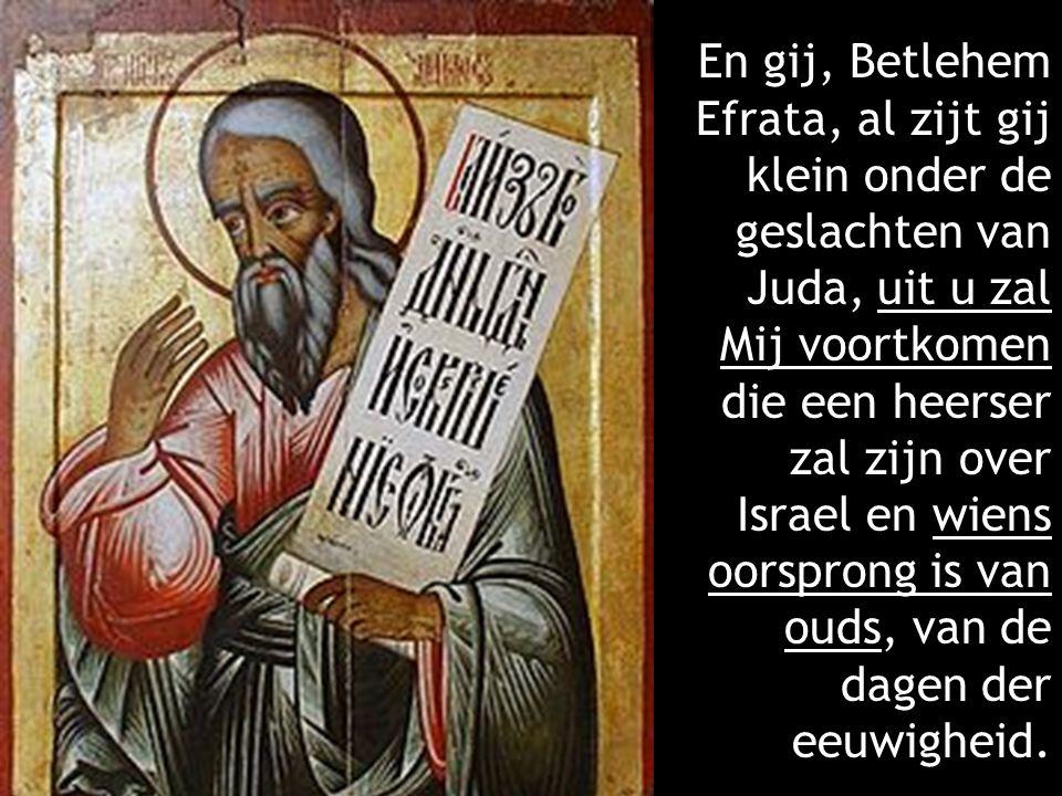 En gij, Betlehem Efrata, al zijt gij klein onder de geslachten van Juda, uit u zal Mij voortkomen die een heerser zal zijn over Israel en wiens oorsprong is van ouds, van de dagen der eeuwigheid.