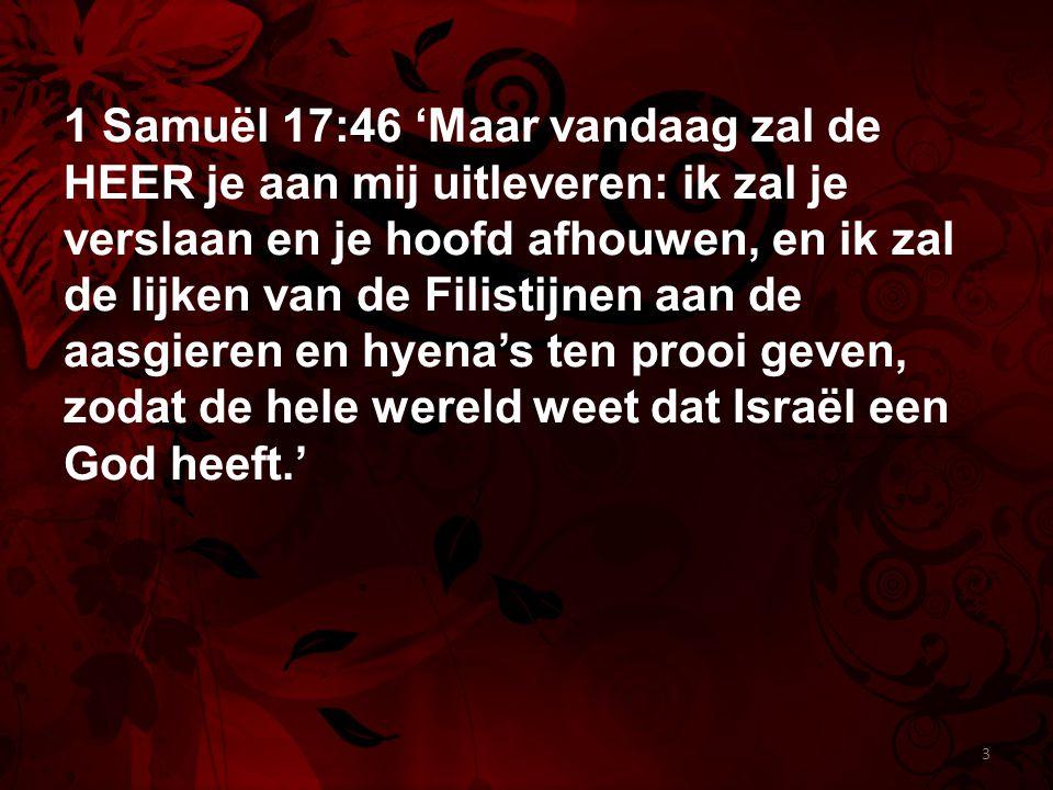 1 Samuël 17:46 'Maar vandaag zal de HEER je aan mij uitleveren: ik zal je verslaan en je hoofd afhouwen, en ik zal de lijken van de Filistijnen aan de aasgieren en hyena's ten prooi geven, zodat de hele wereld weet dat Israël een God heeft.'